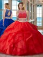Fabulous Red Sweet 16 Dresses Military Ball and Sweet 16 and Quinceanera and For with Beading Scoop Sleeveless Zipper