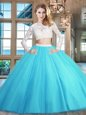 Scoop Floor Length Baby Blue Quinceanera Dresses Tulle Long Sleeves Beading and Lace