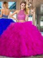 Halter Top Fuchsia Backless Quinceanera Gown Beading and Ruffles Sleeveless Brush Train