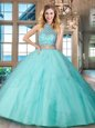 Exceptional Halter Top Backless Tulle Sleeveless Floor Length Sweet 16 Dress and Beading and Ruffles
