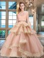 Cute Scoop Cap Sleeves Floor Length Zipper Quinceanera Dress Peach and In for Military Ball and Sweet 16 and Quinceanera with Beading and Lace and Appliques and Ruffled Layers