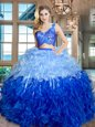 Multi-color V-neck Zipper Lace and Ruffles Ball Gown Prom Dress Sleeveless