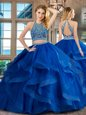 Scoop Sleeveless Backless Floor Length Beading and Ruffles Ball Gown Prom Dress