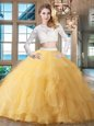 Great Gold Quinceanera Gown Scoop Long Sleeves Brush Train Zipper