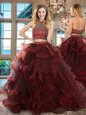 Halter Top Sleeveless Tulle Quinceanera Gown Beading and Ruffles Brush Train Backless