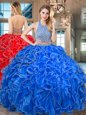 Halter Top Royal Blue Organza Backless Quinceanera Dress Sleeveless Floor Length Beading and Ruffled Layers