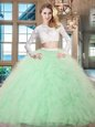 Scoop Apple Green Long Sleeves Tulle Zipper Ball Gown Prom Dress for Military Ball and Sweet 16 and Quinceanera