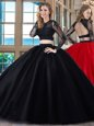 Backless Scoop Long Sleeves Quinceanera Dress Floor Length Appliques Black and Red Tulle
