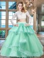 Beauteous Scoop Long Sleeves Tulle and Lace Floor Length Zipper 15 Quinceanera Dress in Apple Green for with Beading and Lace and Ruffled Layers