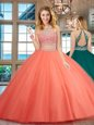 Customized Scoop Watermelon Red Sleeveless Tulle Backless Ball Gown Prom Dress for Military Ball and Sweet 16 and Quinceanera