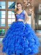 Organza V-neck Sleeveless Zipper Lace and Ruffles Quince Ball Gowns in Blue