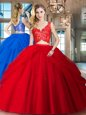 Customized Red Sleeveless Lace and Ruffled Layers Floor Length Quinceanera Gowns