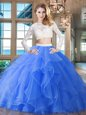 Scoop Long Sleeves Brush Train Zipper Beading and Lace and Ruffles 15 Quinceanera Dress