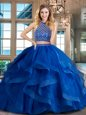 Royal Blue Backless Halter Top Beading and Ruffles 15 Quinceanera Dress Tulle Sleeveless Brush Train