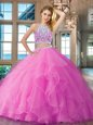 Custom Design Scoop Floor Length Backless Quinceanera Gowns Lilac and In for Military Ball and Sweet 16 and Quinceanera with Beading and Ruffles