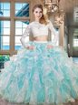 Scoop Aqua Blue Zipper Ball Gown Prom Dress Beading and Lace and Ruffles Long Sleeves Floor Length