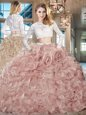 Edgy Scoop Long Sleeves Beading and Lace and Ruffles Zipper 15th Birthday Dress with Pink Brush Train
