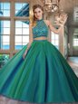 Flirting Dark Green Halter Top Backless Beading Quinceanera Gown Brush Train Sleeveless