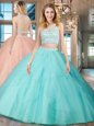Scoop Backless Floor Length Aqua Blue Quince Ball Gowns Tulle Sleeveless Beading and Ruffles