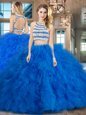 Customized Scoop Backless Blue Sleeveless Beading and Ruffles Floor Length 15th Birthday Dress