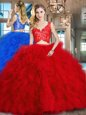 Latest Sleeveless With Train Beading and Ruffles Lace Up 15th Birthday Dress with Royal Blue Brush Train