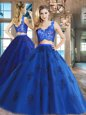 Custom Made Royal Blue Two Pieces V-neck Sleeveless Tulle Floor Length Zipper Lace and Appliques Sweet 16 Dress