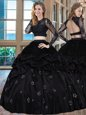 Pretty Scoop Black Two Pieces Embroidery Sweet 16 Dresses Backless Taffeta Long Sleeves Floor Length