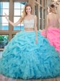 Sleeveless Beading and Ruffles and Pick Ups Zipper Quince Ball Gowns