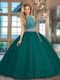 Sweet Watermelon Red Scoop Backless Beading Ball Gown Prom Dress Sleeveless
