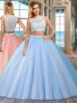 Blue Two Pieces Tulle Bateau Sleeveless Beading Floor Length Side Zipper 15th Birthday Dress