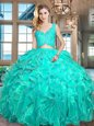 Turquoise Sleeveless Floor Length Lace and Ruffles Zipper Quince Ball Gowns