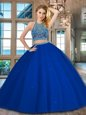 Royal Blue 15th Birthday Dress Military Ball and Sweet 16 and Quinceanera and For with Beading Scoop Sleeveless Backless