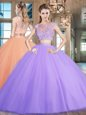 Scoop Lavender Cap Sleeves Beading and Appliques Floor Length Quinceanera Gowns