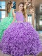 Floor Length Two Pieces Sleeveless Lavender Ball Gown Prom Dress Lace Up