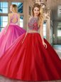 Customized Backless Scoop Sleeveless Quinceanera Dresses Floor Length Beading Red Tulle