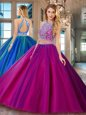Royal Blue Two Pieces Beading 15th Birthday Dress Lace Up Tulle Sleeveless Floor Length