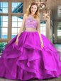 Sweet Fuchsia Sweet 16 Quinceanera Dress Military Ball and Sweet 16 and Quinceanera and For with Beading and Ruffles Scoop Sleeveless Brush Train Backless