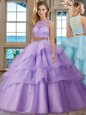 Delicate Scoop Ruffled Lavender Sleeveless Tulle Zipper Sweet 16 Dress for Military Ball and Sweet 16 and Quinceanera