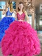 V-neck Sleeveless Zipper Vestidos de Quinceanera Hot Pink Organza