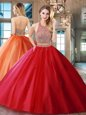 Custom Design Halter Top Red Two Pieces Beading and Appliques Quinceanera Gown Backless Tulle Sleeveless With Train