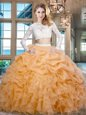 Delicate Scoop Floor Length Gold Quinceanera Gowns Organza Long Sleeves Beading and Lace and Ruffles