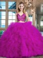 Delicate Sleeveless Brush Train Zipper Lace and Ruffles Sweet 16 Quinceanera Dress