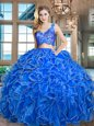 Clearance Blue Organza Zipper V-neck Sleeveless Asymmetrical 15 Quinceanera Dress Lace and Ruffles