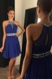 Scoop Royal Blue Zipper Prom Evening Gown Beading Sleeveless Mini Length