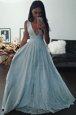 Custom Fit Sleeveless Zipper Floor Length Beading and Lace Celebrity Dress