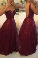 Lace Burgundy Backless Homecoming Dress Beading Sleeveless Floor Length