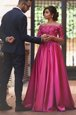 Off the Shoulder Fuchsia Zipper Mother Of The Bride Dress Appliques Long Sleeves Sweep Train