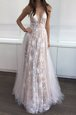 White and Champagne Zipper V-neck Lace Prom Evening Gown Tulle Sleeveless
