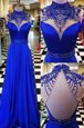 Artistic Royal Blue Chiffon Backless Prom Dresses Sleeveless Sweep Train Beading
