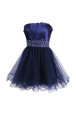 Strapless Sleeveless Evening Dress Knee Length Beading and Sashes|ribbons Navy Blue Satin and Tulle